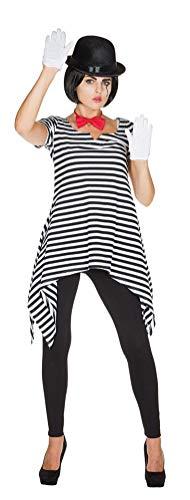 Karneval-Klamotten Pantomime Kostüm Damen Clown Harlekin Kostüm Ringel Tunika schwarz weiß Größe 40