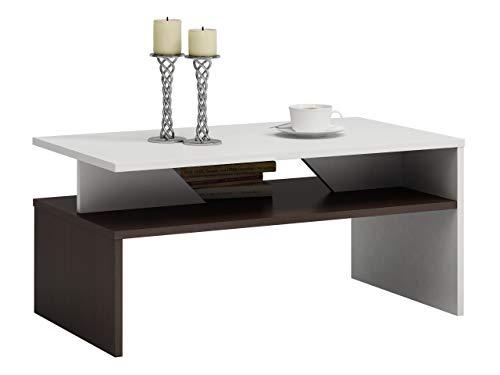 Mirjan24  Couchtisch Lordo, Sofatisch Kaffeetisch Farbauswahl Wohnzimmertisch Stylischer Salontisch 90x60x45 cm (Wenge/Weiß)
