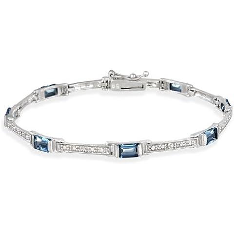 4,69ct in argento Sterling, con topazio blu Londra con diamantino &-Braccialetto con maglie a taglio smeraldo - Genuine Diamante Bridal Set