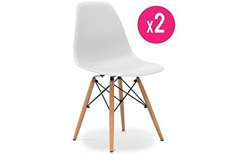 Lot-de-2-chaises-tendance-rtro-Blanches