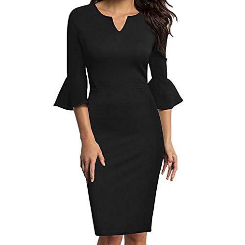 Yazidan Frauen-reizvoller V-Ausschnitt 3/4 Volant Bell-Ärmel-Büro-Arbeits-beiläufiges Bleistift-Kleid Elegant Etuikleider Slim fit Langarm Knielang Retro Business Kleider Rock ()