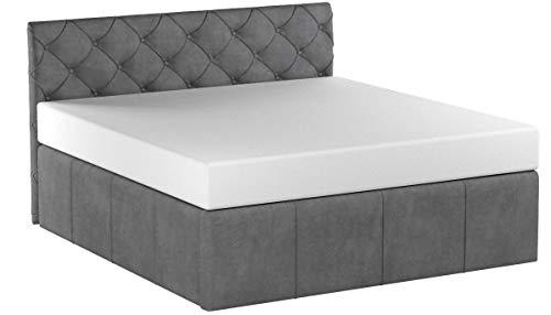 Bett mit Bettkasten Samt Nelly XXL-Stauraum Chesterfield-Stil Polster Doppelbett Lattenrost Knopfheftung (Grau, 180 x 200 cm)