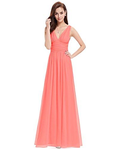 Ever Pretty Damen V-Ausschnitt Lange Chiffon Abendkleider Festkleider 40 Koralenrot