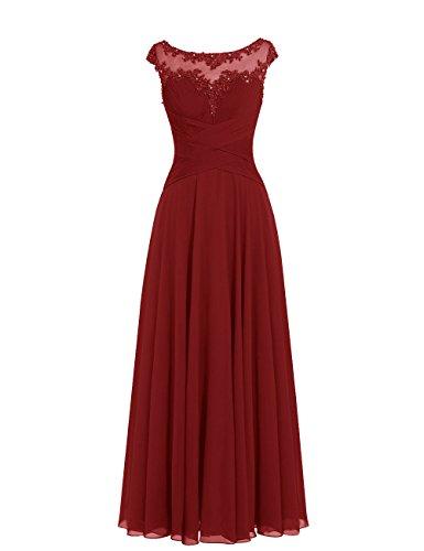 Dresstells Damen Lange Chiffon Ballkleider Brautjungfernkleider Abendkleider Burgundy Größe 36
