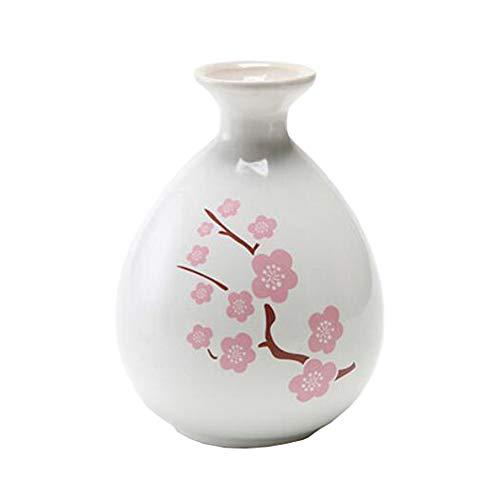 Mini chinesische Keramik Blumenvase Bud Vase Weinflasche, ideales Geschenk für Home Office, Dekor, Tischvasen, Bücherregal Ornamente Flaschen, Weiße Pfirsichblüte