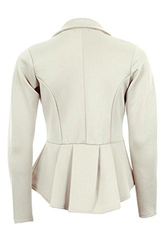 Branded - Veste Blazer Volant Péplum Coupe Cintrée Bureau Femmes Blanc