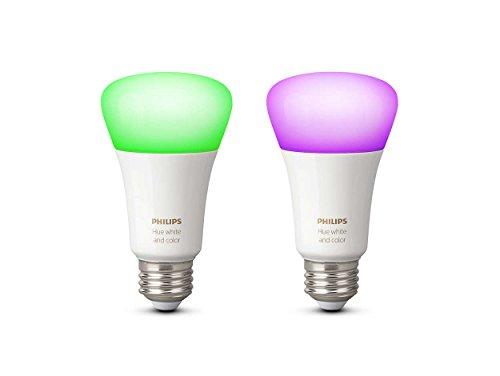 Philips Hue White and Color Ambiance - Pack de 2 bombillas LED E27, 9,5 W, iluminación inteligente, 16 millones de colores, compatible con Amazon Alexa, Apple HomeKit y Google Assistant