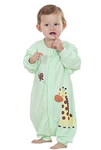 Baby ganzjahres Schlafsack mit Beinen,abnembar Langarm,Unisex Kleine Kinder Sommerschlafsack,Baby Strampler Schlafanzug Baumwolle (Gruen, Etikett90/Koerpergroesse 95-105cm)