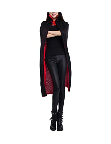 Zhhlaixing Double Face Umhang Schwarz Rot - Niedlich Tanzparty Umhänge Halloween Kostüm Ritter Kleid Knielänge zum Damen
