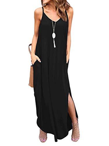 Minetom Robe Longue Femme Bohème Manches Courtes Chic Robe de Plage d'été Col Rond Bretelles Casual Maxi Robe de Soirée Cocktail Fleurie Grande Taille Noir FR 38