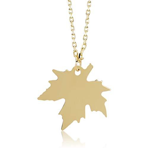 Damen Halskette aus 14 Karat - 585 Echt Gelbgold Kette mit Platane Blatt Anhänger, Herbst Winter Leaves, Geschenk für Geburtstag Weihnachten - Kette 45 cm