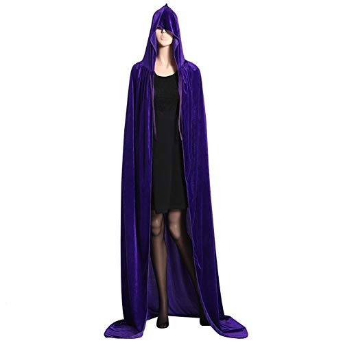JKABCD Unisex Hooded Halloween Weihnachten Umhang Kostüme Party Cape, Volle Länge mit Kapuze Umhang Weihnachten Halloween Cosplay Blue XL Length 170cm