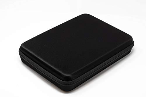 Hi-SHOCK 3D Brillenetui/Hardcase Quad-Case für vier Brillen. Hartschalen Box mit Reißverschluss & Zubehörfach | inkl. 4X Mikrofasertücher | 32 x 24 x 7 cm | schwarz