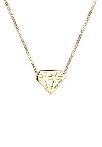 Elli Damen Kette mit Anhänger Trendsymbol Diamantform Silber vergoldet 40 cm 0110721315