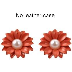 Korean Style Jewel Pearl Daisy Flower Ear Nail Earrings Women Jewelry