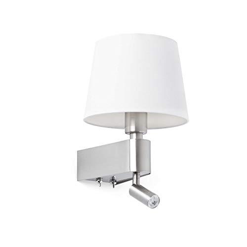 Faro Barcelona Room 29976 - Aplique LED, 20W^3W, metal y pantalla textil, color blanco