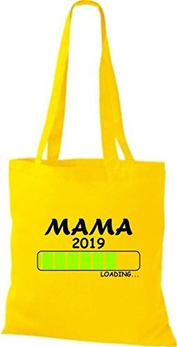 ShirtInStyle Stoffbeutel Baumwolltasche Loading MAMA 2019 Gelb