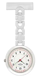 Rotary Ladies Round White Dial Stainless Steel Bracelet Fob Watch
