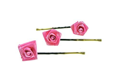 clarigo Haarnadel Haarband Haarklemme Diorröschen pink Hochzeit Kommunion Blumen Blumenmädchen - Pink Ball Blüte