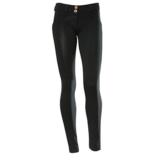 Freddy WR.UP - Pantaloni dritti da donna, a vita bassa, effetto modellante, Medium, nero/nero