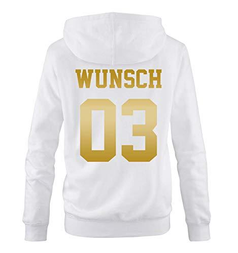 Comedy Shirts - Wunsch - Damen Hoodie - Weiss/Gold - Gr. ()
