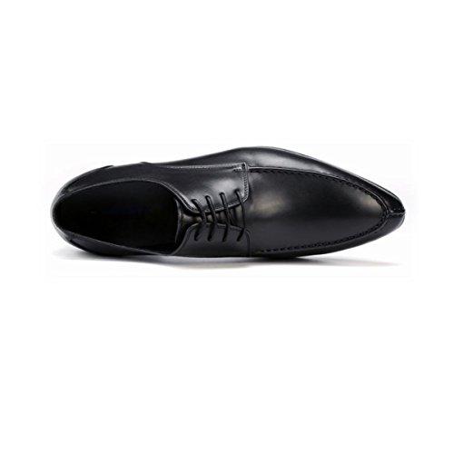 LYZGF Uomini Gioventù Affari Casual Moda Punta Allacciatura Scarpe Di Cuoio Black