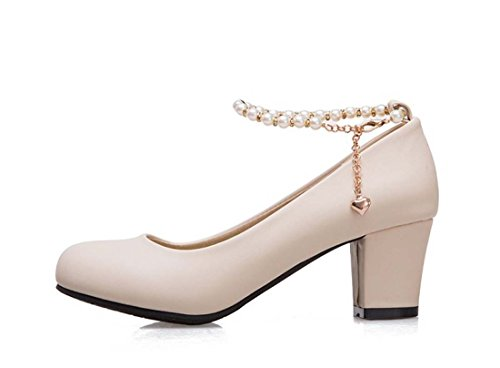 Scarpe Da Donna Popolari Con Perline Plus Size 40 41 42 43 Pure Round Chunky Dating Mary Janes Shoes Beige