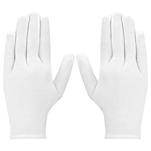 LUTER 3 Paires Gants De Coton Blanc Femme Homme Gants en Tissu pour Eczéma, Mains sèches, hydratation, Nettoyage des Costumes en Argent pour Bijoux de pièce de Monnaie