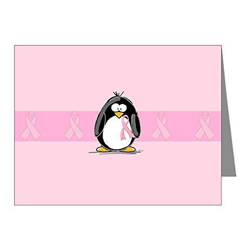 CafePress Pink Ribbon Pinguin Note Karten Note Karten PK von 20, Glänzend, Standard