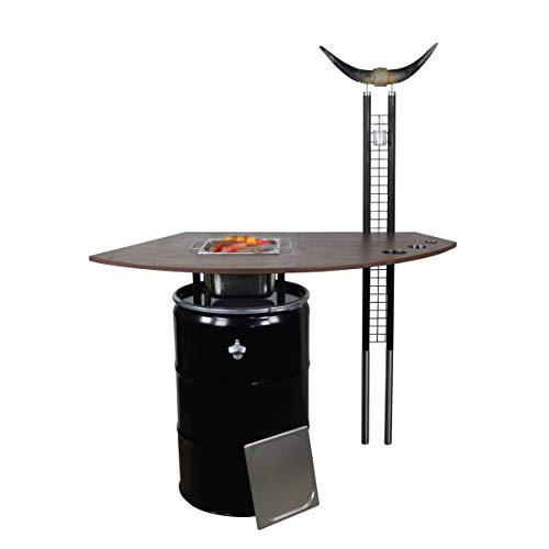 Rogge´s RelaxGrill Grilltisch Longhorn II, Stehtisch, Outdoorküche mit integriertem Edelstahlgrill, Außenküche, Gartenküche, Grillküche