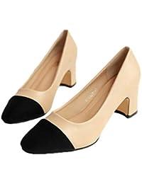 9676fae8b4 Scarpe da Donna con Scarpe in Pelle Scarpe da Donna con Tacco Basso e Tinta  Unita