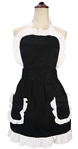 lilments Damen Rüsche Outline Retro Schürze Küche Kuchen Backen Kochen Cleaning Maid Kostüm Mit Taschen schwarz