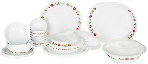 Corelle Livingware Spring Pink Vitrelle Glass Dinner Set, 30-Pieces, Multicolor