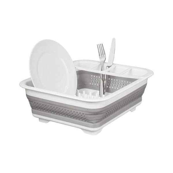 New Collapsible Dish Drainer Large Folding Dish Draining Board Plates Cutlery Rack Sink 1