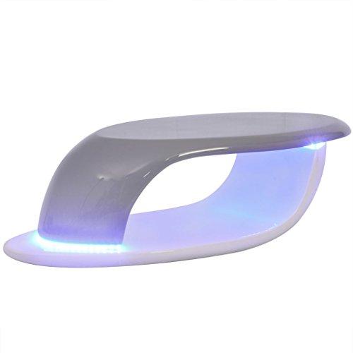 vidaXL Table basse avec bande LED Table d'appoint Fibre de verre Blanc et gris