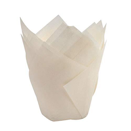 ck Nicht klebende Tulpenform Kuchentasse, ölfest, Muffin- und Cupcake-Liner Papierhalter Backwerkzeug, weiß, Einheitsgröße ()