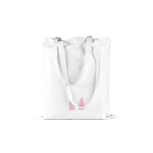 licaso Jutebeutel Bedruckt Some Bunny Loves You Print in Weiss Baumwolltasche mit Langen Henkeln Beutel Häschen Ohren Druck Ökologisch & Nachhaltig Tragetasche 100% Baumwolle