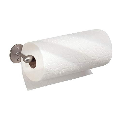 iDesign Küchenrollenhalter, kleiner Papierrollenhalter aus Metall, wandmontierter Küchenhelfer für eine Küchenpapierrolle, mattsilberfarben