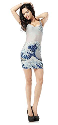 Thenice, sexy Kleid, figurbetont, elastisch, ärmellos Wave