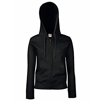Fruit Of The Loom NEW Lady Fit Hooded Sweat Jacket Black XS