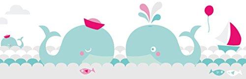 lovely label Frise murale adhésive enfant à motifs baleines, menthe-gris-rose - Frise chambre enfant fille de 450 x 11,5 cm - Décoration murale chambre bébé autocollante et non toxique, fabriqué en Allemagne