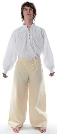 HEMAD Herren Hose Mittelalter Schnürhose S-XXXL schwarz, blau, rot, grün, braun, beige, weiß -reine Baumwolle (S, beige)