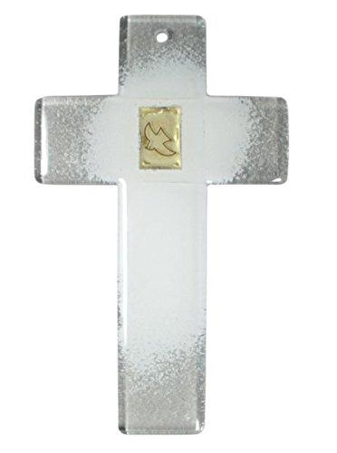 Traversa di vetro bianco colomba della pace in foglia oro 20 x 12 cm
