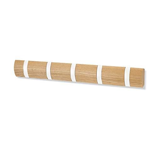 Umbra Flip Hook 5 Haken Natur/weiß Holz Alu Hakenleiste Garderobenhaken - mit 5 Beweglichen Haken