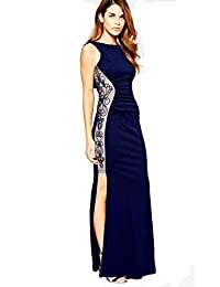 8bbadf47 Lipsy Michelle Keegan Navy Lace Embroidered Side Cowl Back Maxi Dress