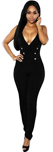 Y-BOA Femme Salopette Col V Bretelle Combinaison Pantalon Jumpsuit Noir