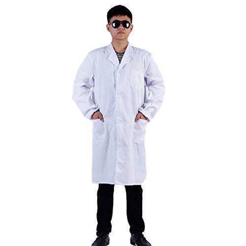 Yuanou White Laborkittel Arzt Krankenschwester Lang Kurzarm Kleidung Wissenschaftler Schule Krankenhaus Kostüm Arbeitskleidung Erwachsene (Long Sleeve,XXXL) (White Doctor's Mantel Kostüm)