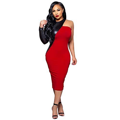 Kostüm Bodysuit Strapless Schwarz - YCCDDY Schlimmeres Rot und Schwarzes Stitchen Strapless Mid-Length Rock Nightclub Dress,L