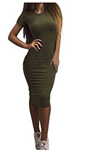 SHUNLIU Damen Rock Solide Kurzarm Slim Volltonfarbe hip Kleid Dress Armee-Grün