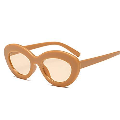 ZHAS High-End-Brille Ovale Sonnenbrille Frauen Vintage-Brille Runde Sonnenbrille Weibliche Ocean Lenses Eyewear Uv400 Personalisierte High-End-Sonnenbrille Weiß GELB